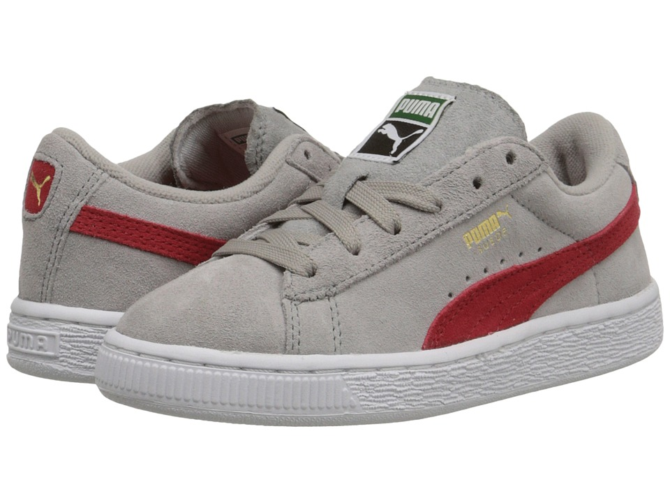 Puma Kids - Suede Jr (Little Kid/Big Kid) (Drizzle/High Risk Red) Kids Shoes