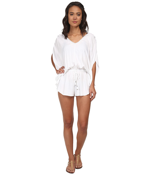 Seafolly - Bandwave Getaway Playsuit Cover-Up (White) Women