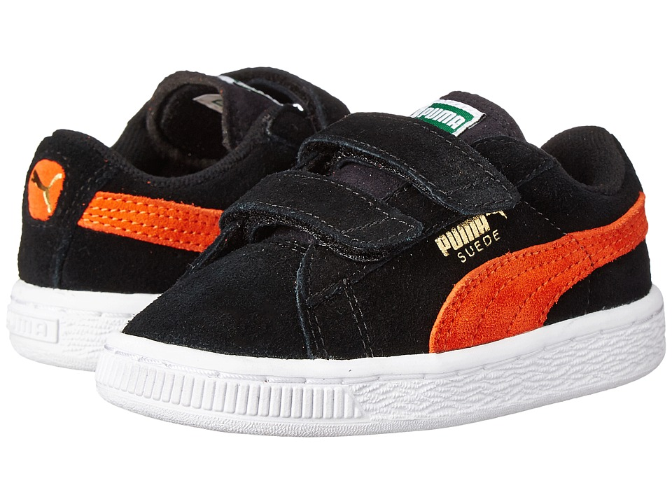 Puma Kids - Suede 2 Straps (Toddler/Little Kid/Big Kid) (Black/Vermillion Orange) Kids Shoes