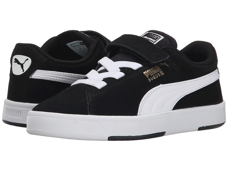 Puma Kids - Suede Skate V (Toddler/Little Kid/Big Kid) (Black/White) Boys Shoes