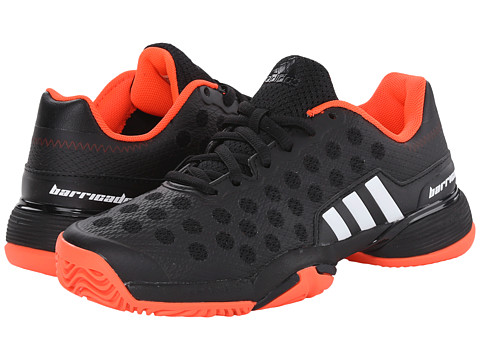adidas Kids - Barricade 9 xJ (Little Kid/Big Kid) (Black/White/Solar Red) Boys Shoes