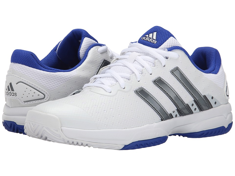 adidas Kids - Barricade team 4 xJ (Little Kid/Big Kid) (White/Iron Metal/Blue) Kids Shoes