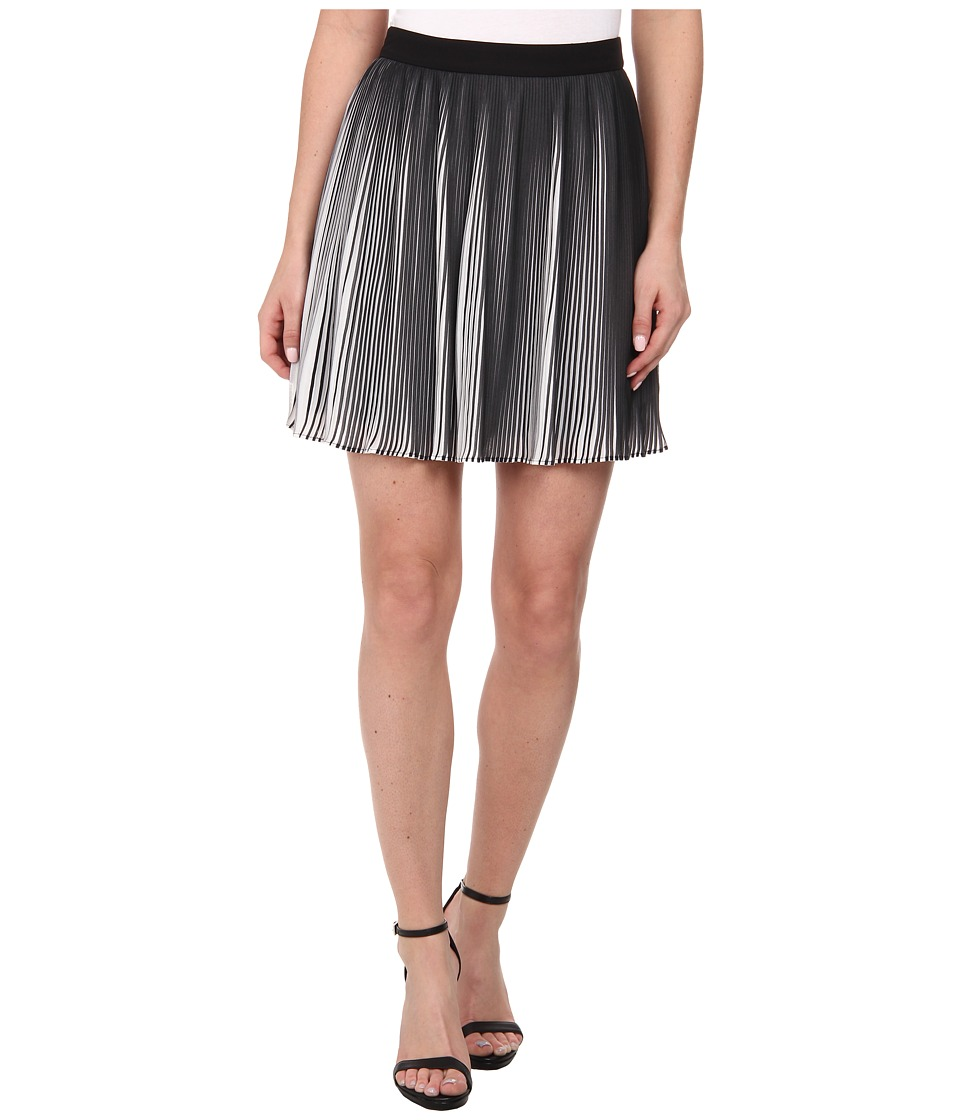 Sam Edelman Black and White Pleated Skirt (Black/White) Women