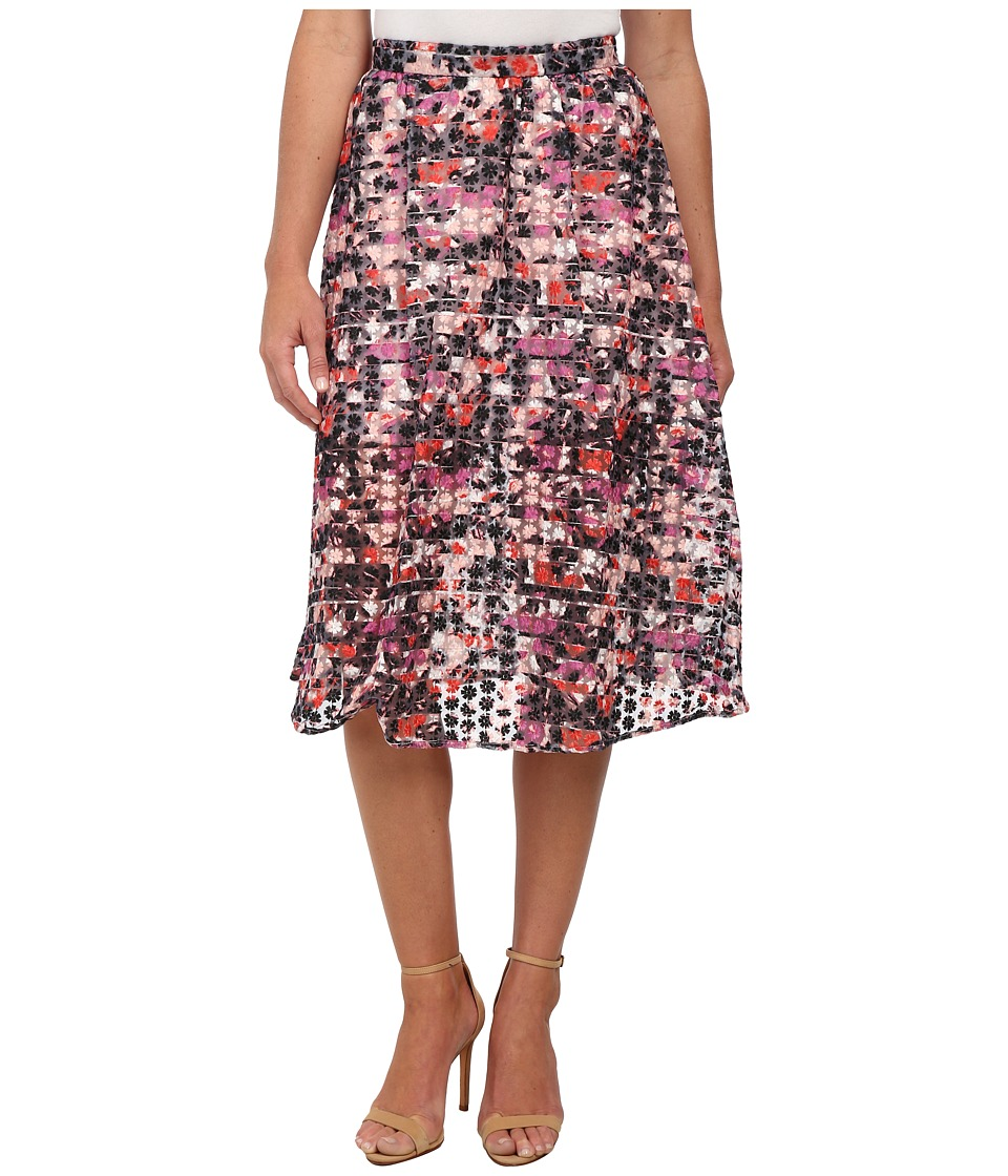 Sam Edelman - Stripe Floral Embroidered Organza Midi Skirt (Multi) Women's Skirt
