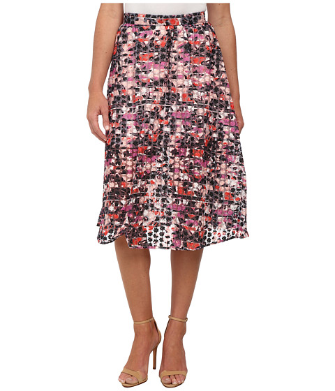 Sam Edelman - Stripe Floral Embroidered Organza Midi Skirt (Multi) Women