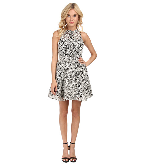 Sam Edelman - Button Rom Dress w/ Pleats (Black/White) Women's Dress