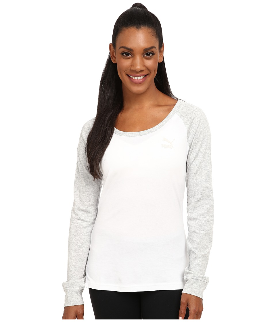PUMA Long Sleeve Tee (White/Light Gray Heather) Women