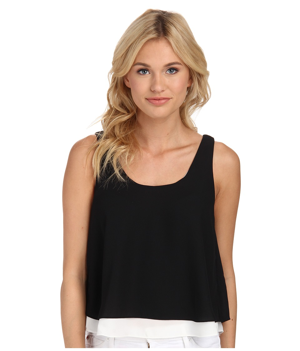 Sam Edelman - Black and White Double Layer Tank w/ Exposed Back Zip (Black) Women's Sleeveless