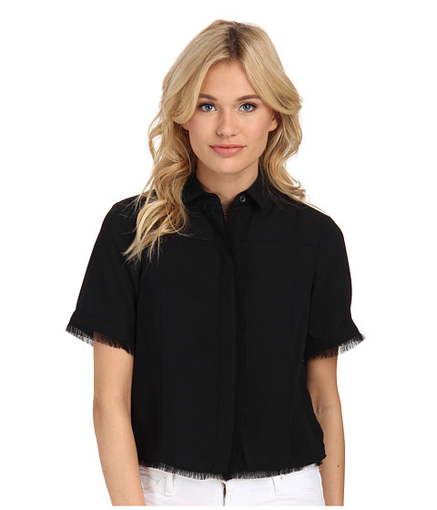 Sam Edelman - Button Down Top w/ Raw Edge Fringe (Black) Women's Long Sleeve Button Up