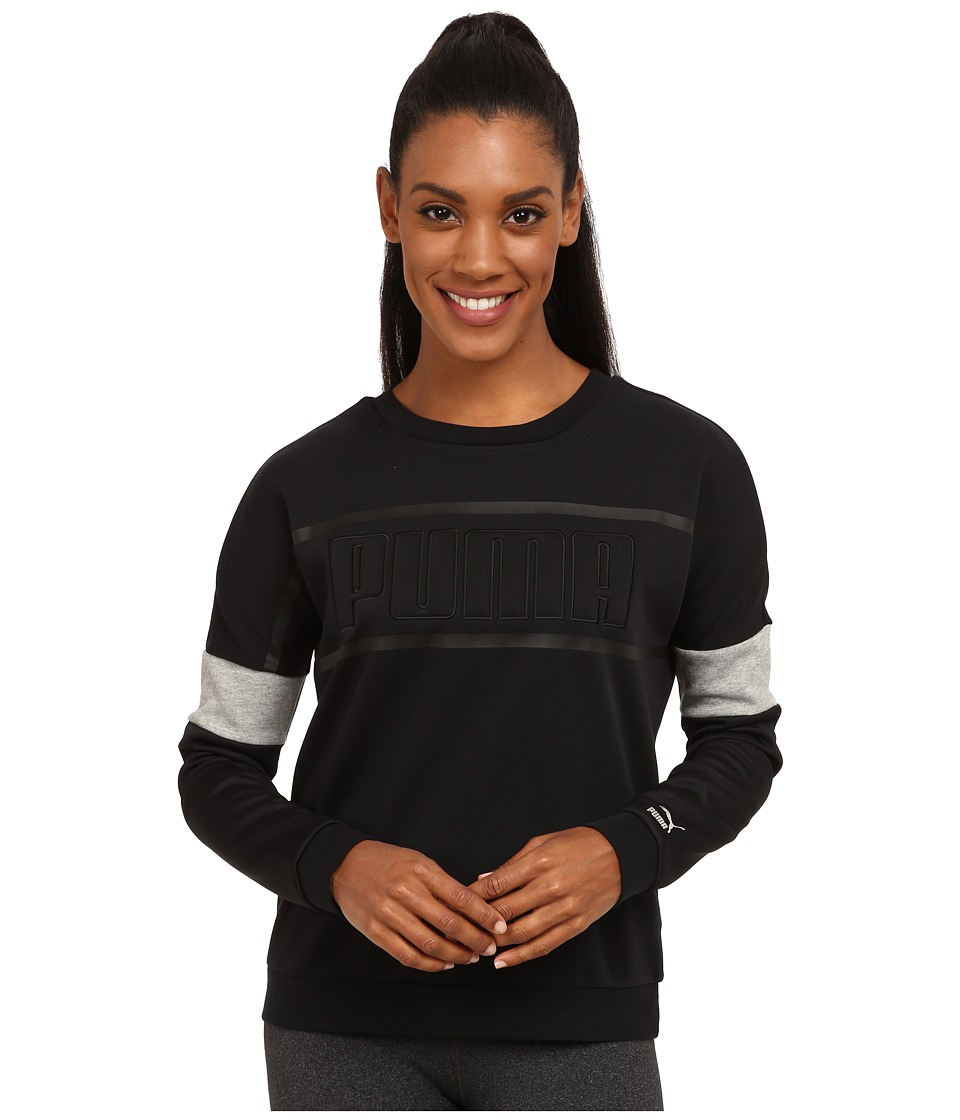 PUMA - Matt Shine Crew Neck (Black) Women's Long Sleeve Pullover