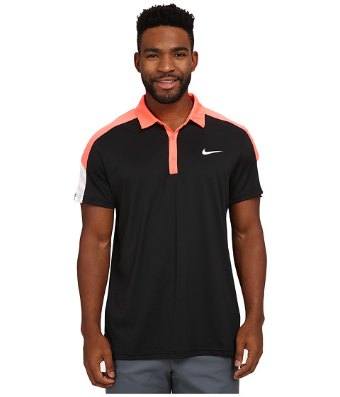 Nike - Team Court Polo (Black/Hot Lava/White/White) Men
