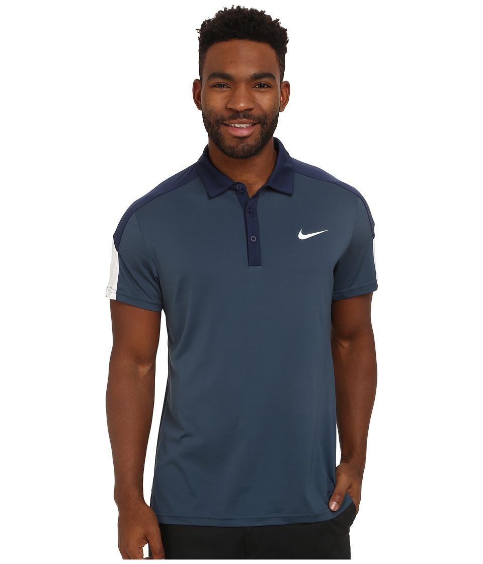 Nike - Team Court Polo (Squadron Blue/Midnight Navy/White/White) Men