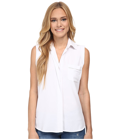 Sam Edelman - Collared Blouse w/ Trimming (White) Women's Blouse