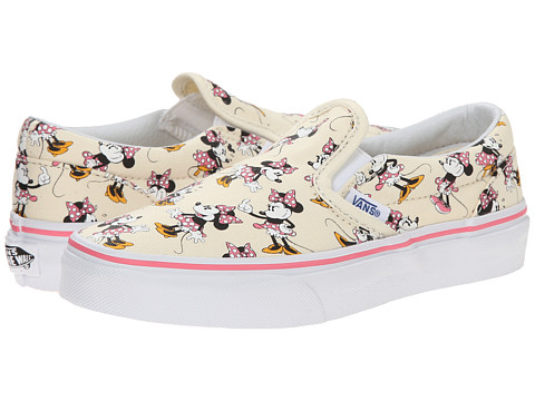 Vans Kids - Disney Classic Slip-On (Little Kid/Big Kid) ((Disney) Minnie Mouse/Classic White) Girls Shoes