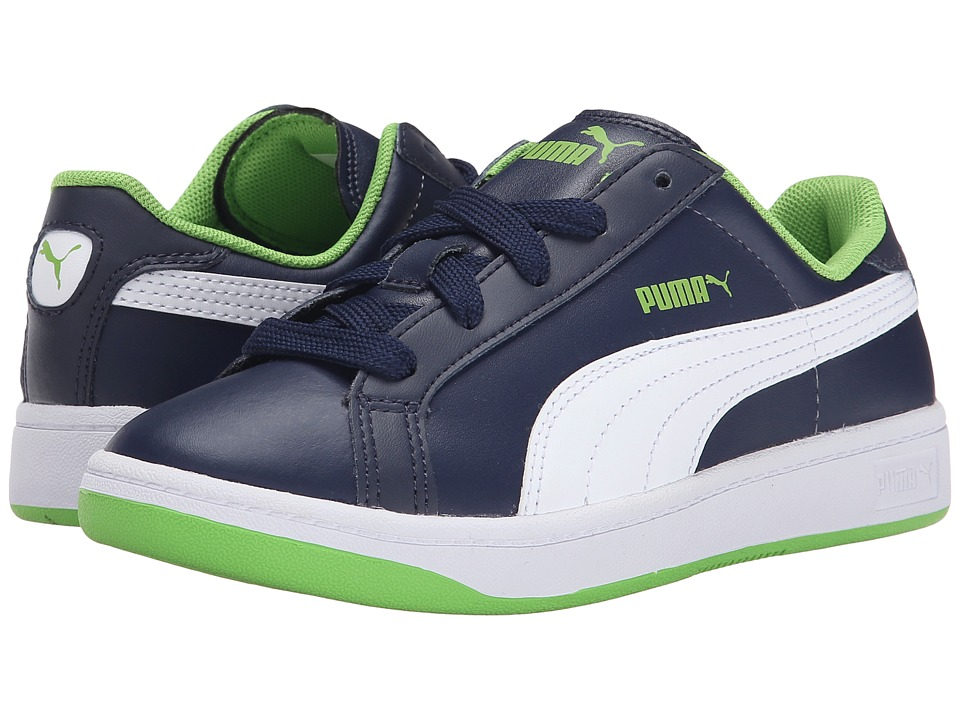 Puma Kids - Smash L (Little Kid/Big Kid) (Peacoat/White/Jasmine Green) Boys Shoes