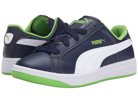 Puma Kids - Smash L (Little Kid/Big Kid) (Peacoat/White/Jasmine Green) Boys Shoes