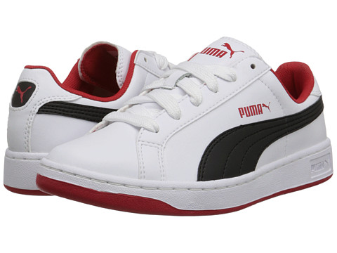 Puma Kids - Smash L (Little Kid/Big Kid) (White/Black/High Risk Red) Boys Shoes