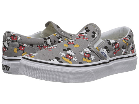 Vans Kids - Disney Classic Slip-On (Little Kid/Big Kid) ((Disney) Mickey Mouse/Frost Gray) Kids Shoes