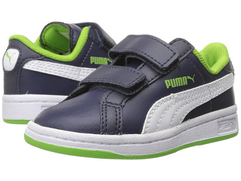 Puma Kids - Smash L V (Toddler/Little Kid/Big Kid) (Peacoat/White/Jasmine Green) Boys Shoes