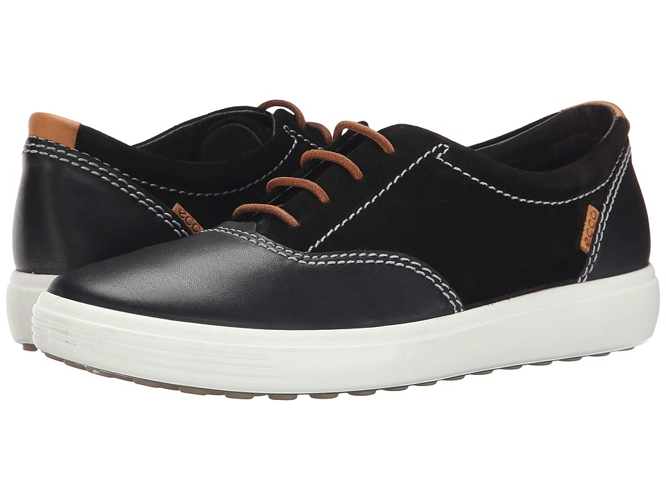 ECCO - Soft VII Tie (Black/Black) Women's Lace up casual Shoes