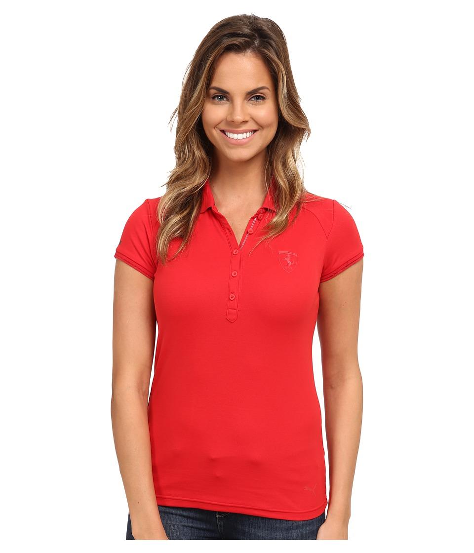 PUMA - Ferrari Polo (Rosso Corsa) Women's Short Sleeve Pullover