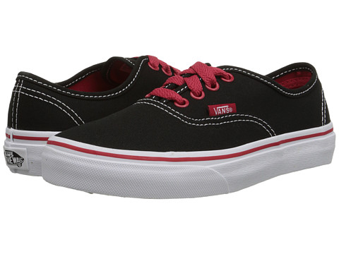 Vans Kids - Authentic (Little Kid/Big Kid) ((Pop) Black/White/Red) Boys Shoes