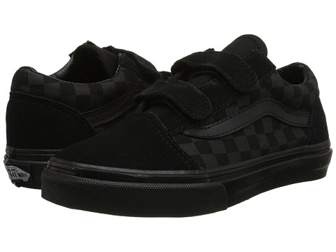 Vans Kids - Old Skool V (Little Kid/Big Kid) ((Checkerboard) Black/Black) Boys Shoes