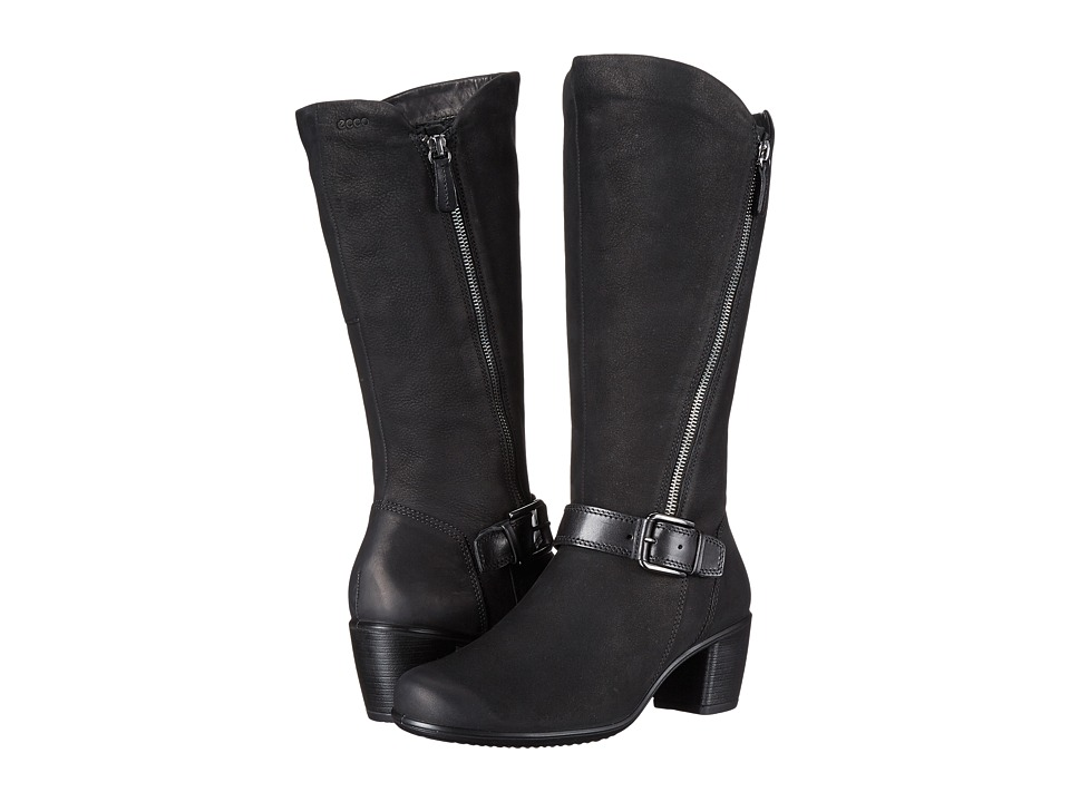 ECCO Touch 55 Tall Buckle Boot (Black/Black) Women