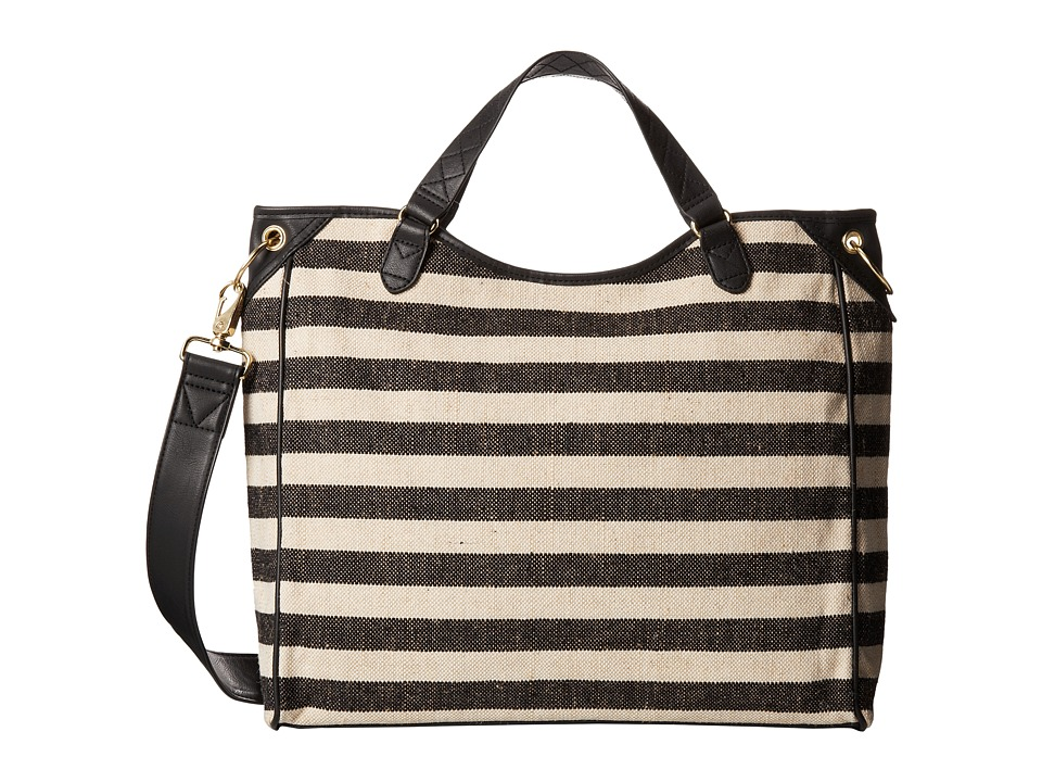 San Diego Hat Company - BSB1342 Stripe Bag w/ Faux Leather Trim (Black) Bags