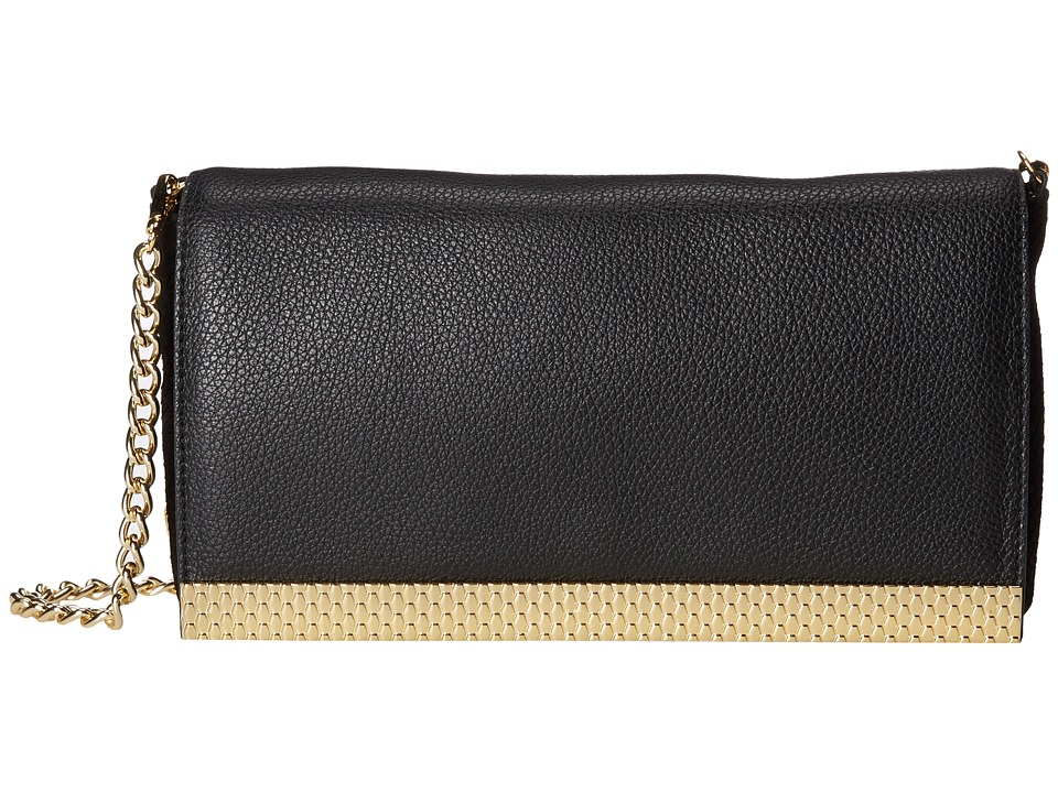 Just Cavalli - Small Viper Tumbled Print Leather Bag with Gold Bar (Black) Handbags
