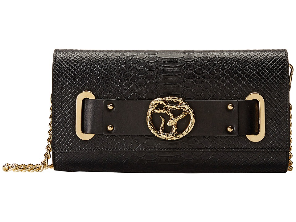 Just Cavalli - Small Python Print Leather Bag with Chain (Black) Handbags