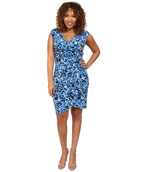 London Times - Plus Size Cap Sleeve Printed Side Ruched Sheath Dress (Blue) Women