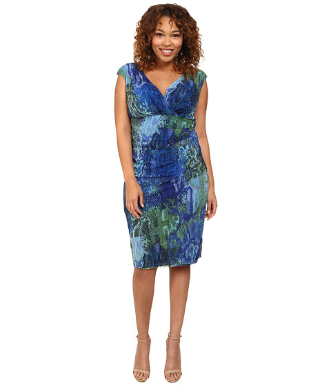 London Times - Plus Size Cap Sleeve Side Ruched Sheath Dress (Blue) Women's Dress