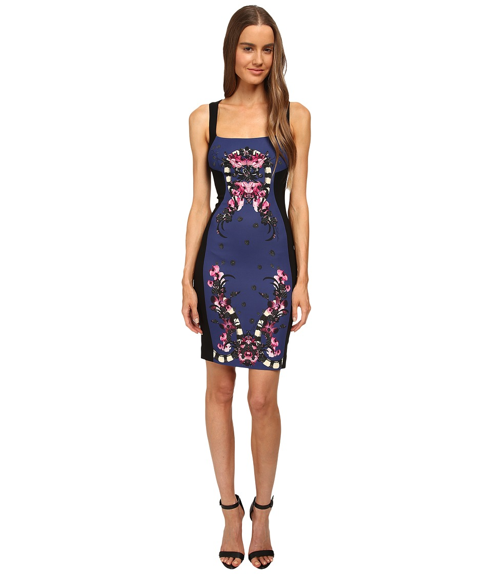 Just Cavalli - Sleeveless Dress Print Front Panel (Black) Women's Dress