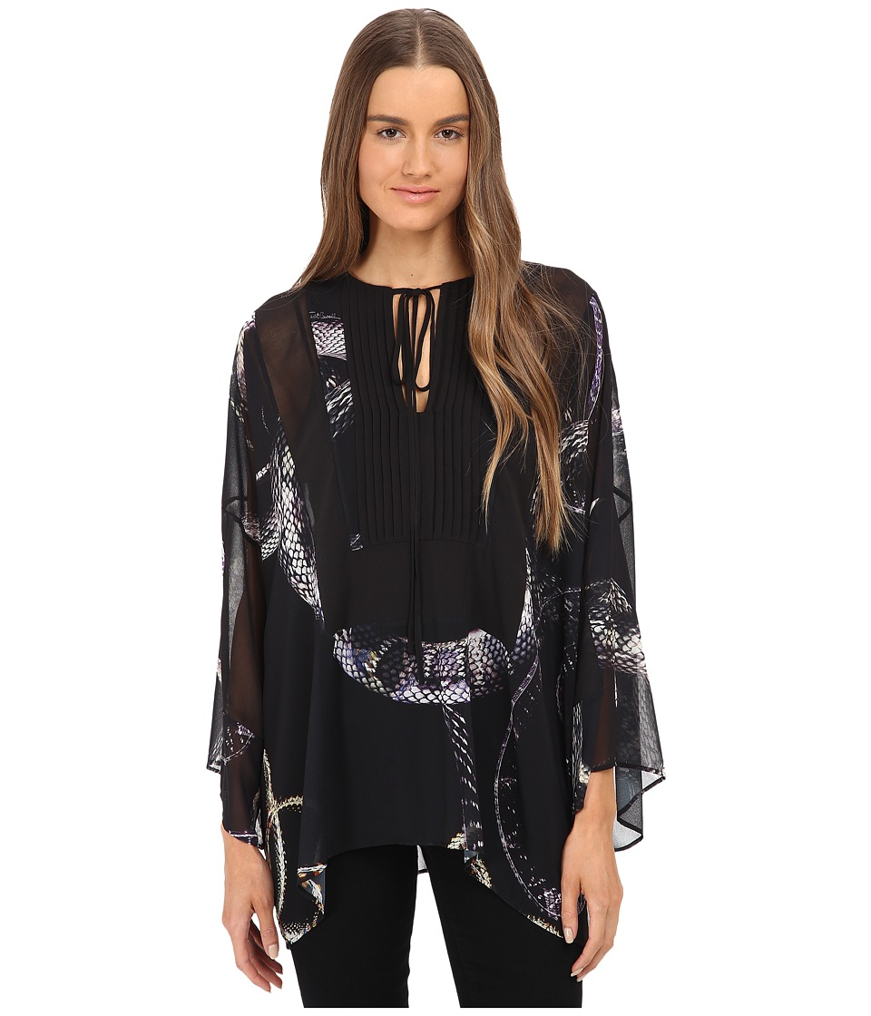 Just Cavalli - Boho Top w/ Tie (Black Variant) Women's Clothing