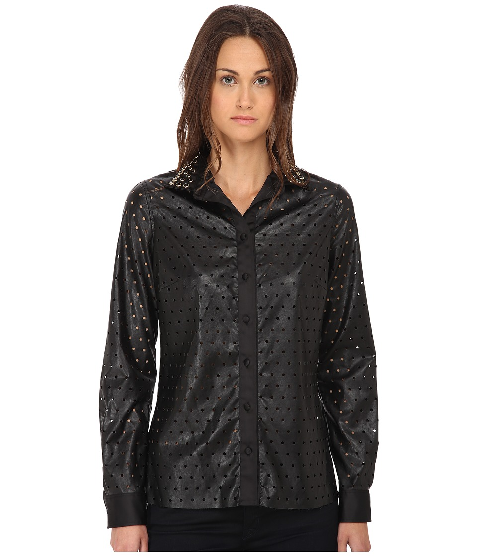 Just Cavalli - Perforated Button Front Long Sleeve Top (Black) Women