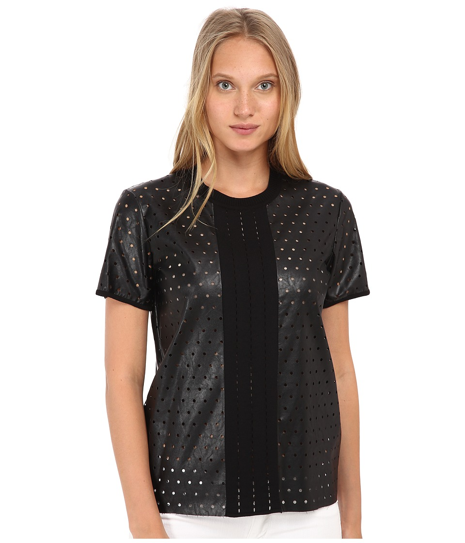 Just Cavalli - Short Sleeve Faux Leather Perforated Top (Black) Women's Clothing