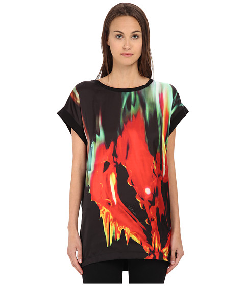 Just Cavalli - Print Front Tunic/Tee w/ Jersey Back (Black Variant) Women's Clothing