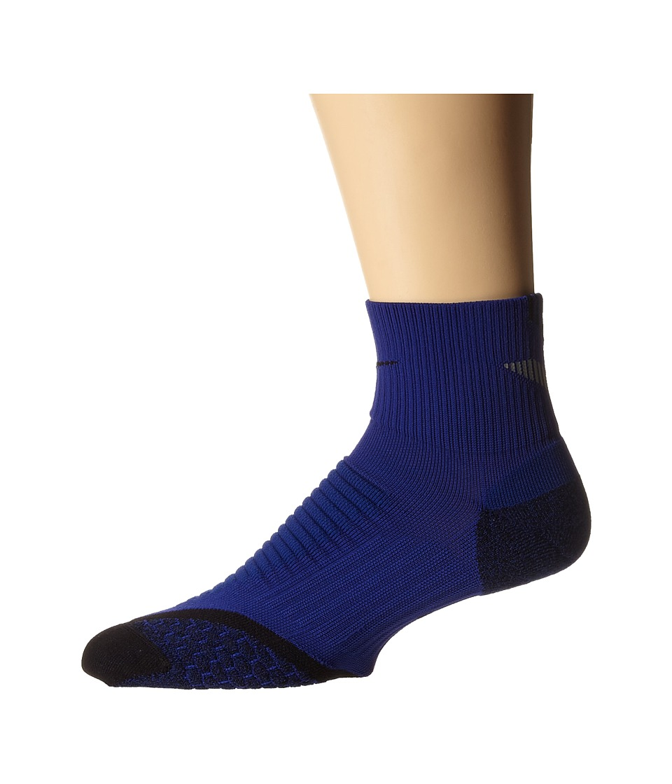 Nike - Elite Running Cushion Quarter (Deep Royal Blue/Black/Black) Quarter Length Socks Shoes