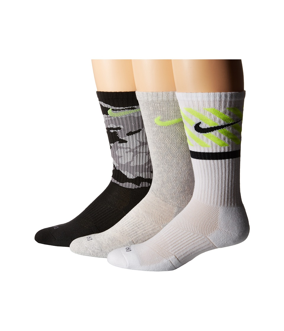 Nike - Dri-FIT Triple Fly Crew 3-Pack (Black/Volt/Grey Heather/Volt/White/Black) Crew Cut Socks Shoes