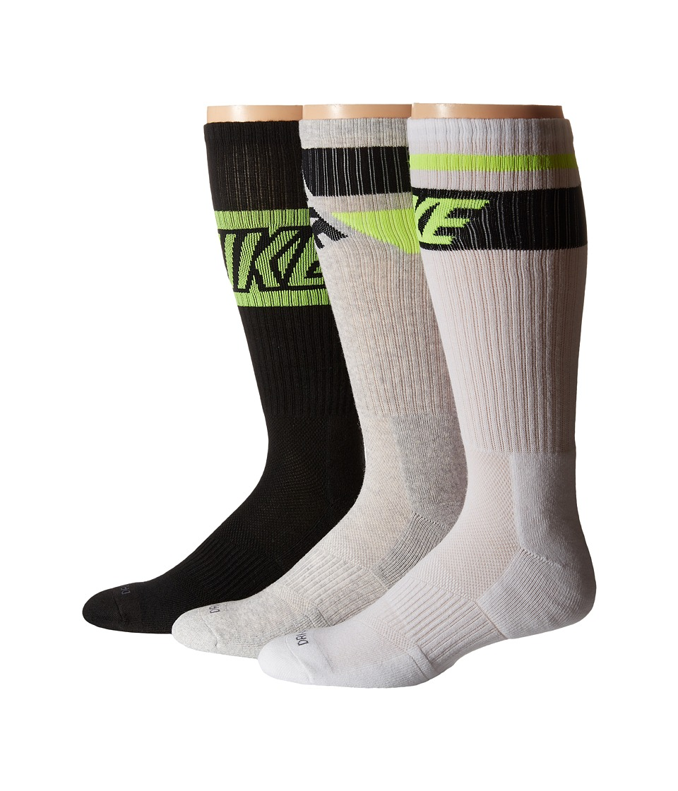 Nike - Dri-FIT Crew Sock 3-Pair Pack (White/Black/Volt/Black/Volt/Grey Heather/Volt/Black) Crew Cut Socks Shoes