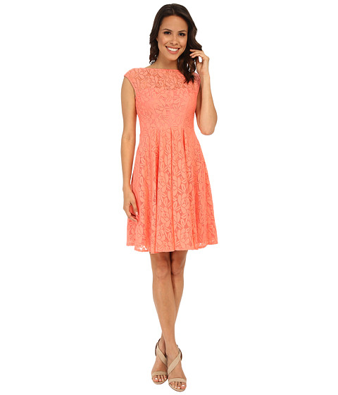 London Times - Floral Fit and Flare Dress (Coral) Women's Dress