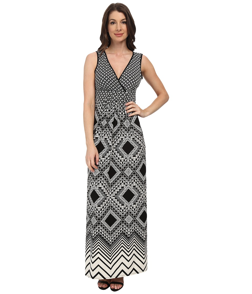 London Times - Empire Babydoll Maxi Dress (Black/White) Women's Dress
