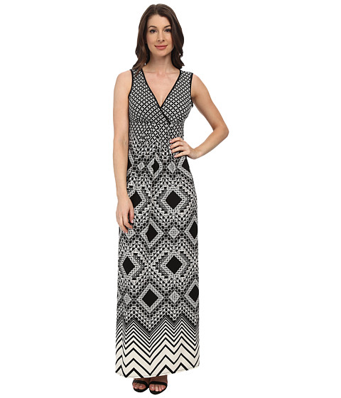 London Times - Empire Babydoll Maxi Dress (Black/White) Women