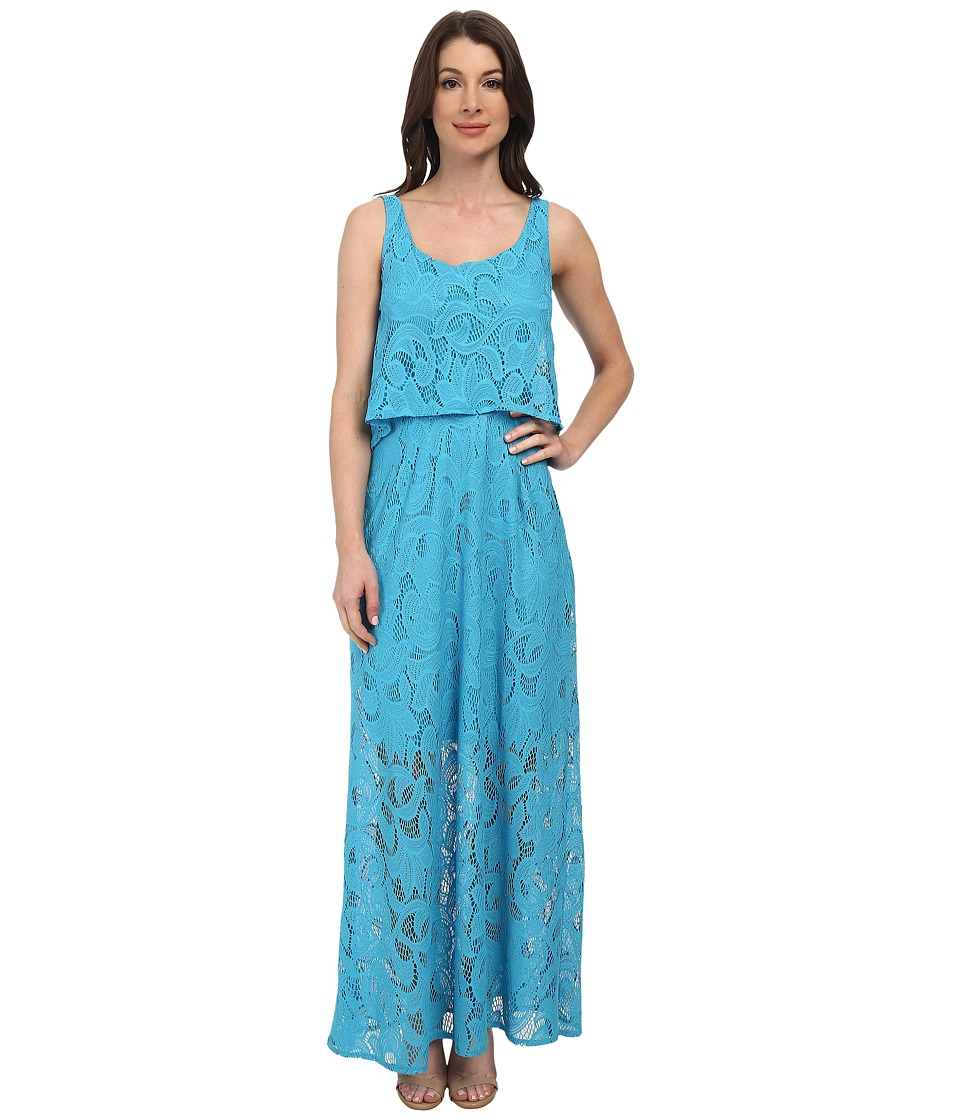London Times - Sleeveless Pop Over Top Lace Maxi Dress (Blue Tropic) Women