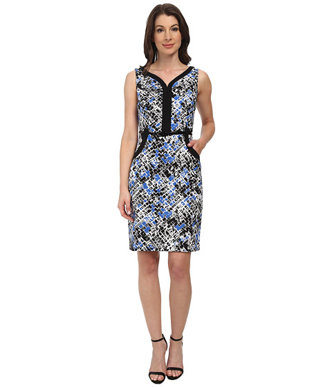 London Times - Sleeveless V-Neck Pocket Detail Sheath Dress (Blue) Women