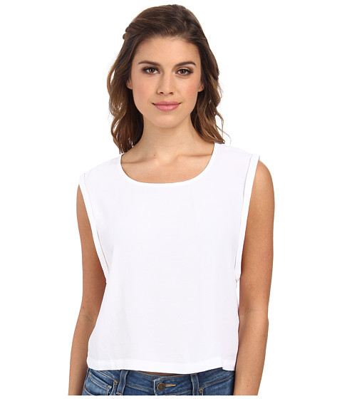 MINKPINK - Crepe Roll Sleeve Tank Top (White) Women's Sleeveless