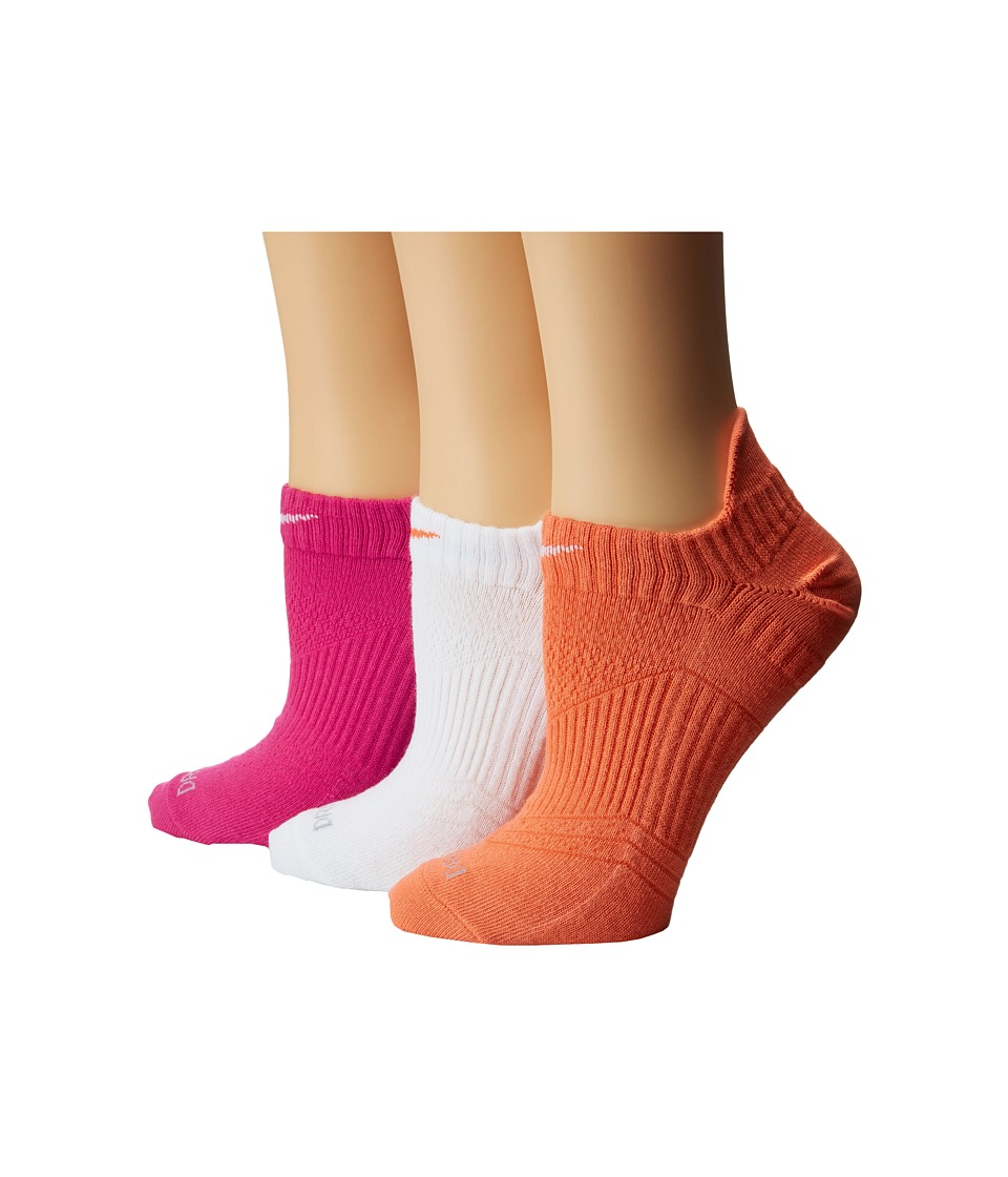 Nike - Dri-Fit Lightweight No Show 3-Pair Pack (Light Mandarin/White/White/Light Mandarin/Vivid Pink/White) Women