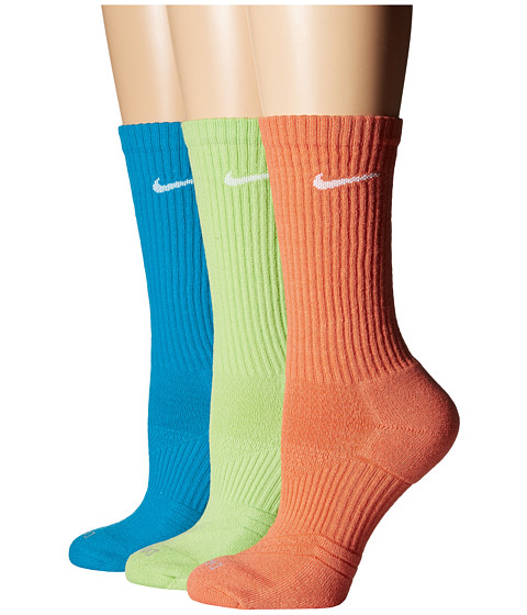 Nike - Dri-Fit Cushion Crew 3-Pair Pack (Light Mandarin/White/Key Lime/White/Blue Lacquer/White) Women