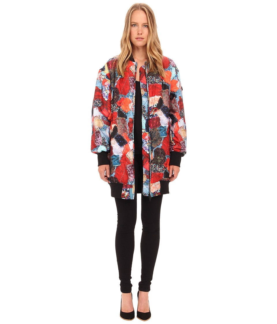 LOVE Moschino - Patchwork Print Long Bomber (Multi) Women's Coat